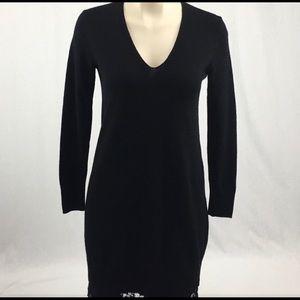 Club Monaco Black V Sweater Dress & Lace Hem CD